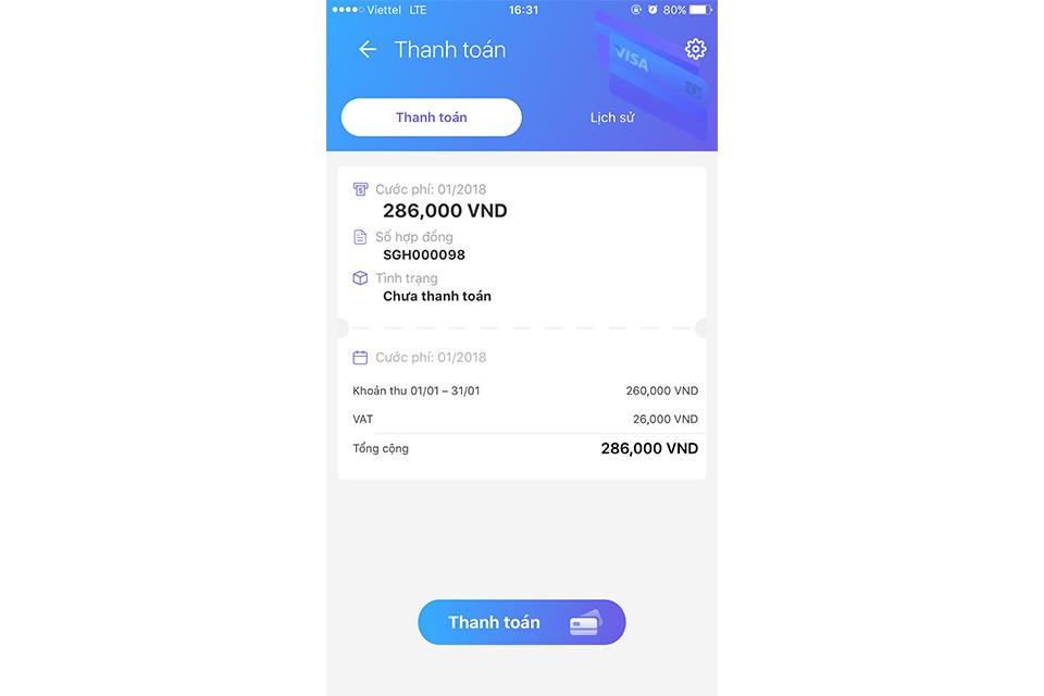 Dễ dàng thanh toán tiền cước ngay trong ứng dụng.
